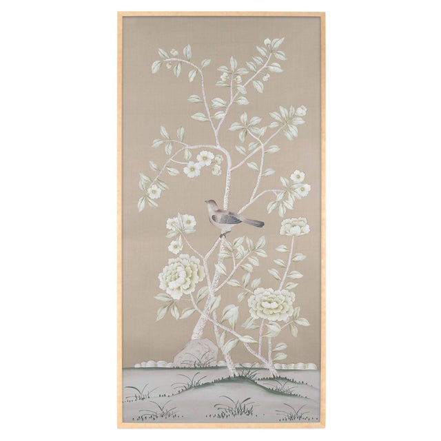 """""""Donnington"""" Chinoiserie Framed Painting on Silk by Simon Paul Scott for Jardins en Fleur For Sale In Los Angeles - Image 6 of 6"""