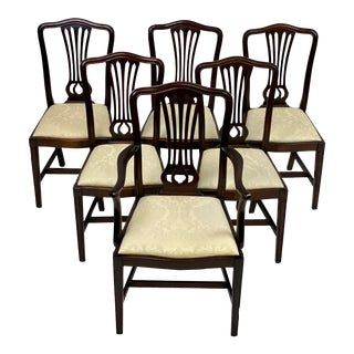 Late 19th Century Antique Mahogany George III Chippendale Style Dining Chairs - Set of 6 For Sale
