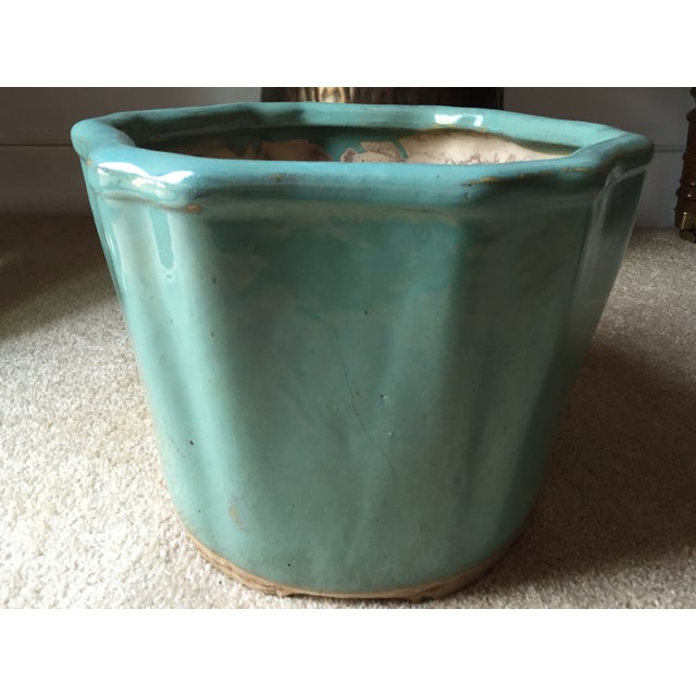 "Vintage Celadon Chinoiserie Style Planter-13"" - Image 5 of 5"