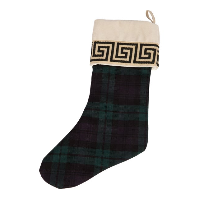 Black Watch Wool and Greek Key Christmas Stocking For Sale