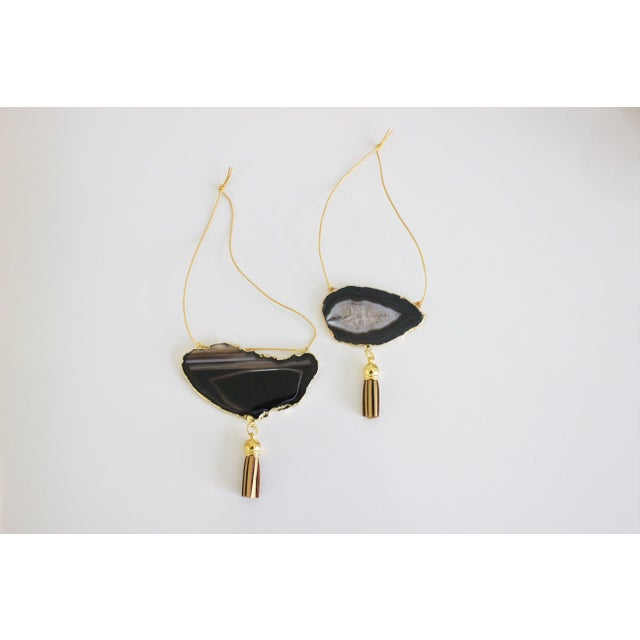 Modern Boho Black Agate Holiday Ornaments - A Pair - Image 2 of 6