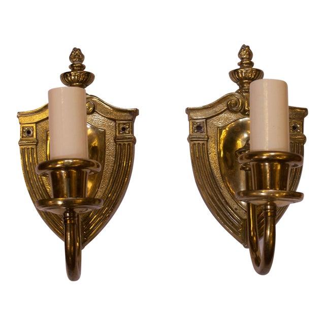 Cast Brass Sconces - A Pair For Sale