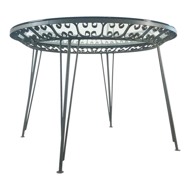 1960s Mid-Century Modern Arthur Umanoff Grenada Wrought Iron Outdoor Dining Table For Sale