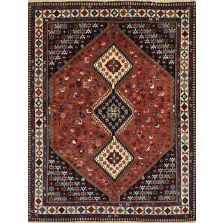 1990s Vintage Persian Yalameh Rug- 5′1″ × 6′7″ For Sale