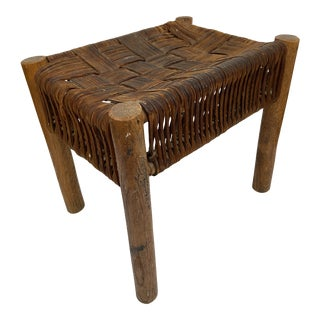 Vintage Woven Leather Stool For Sale