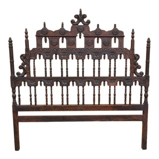 Vintage Spanish King Size Pagoda Headboard For Sale