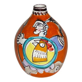 1960s DeSimone, Italian Pottery Vase with Gladiators Rooster Shields.
