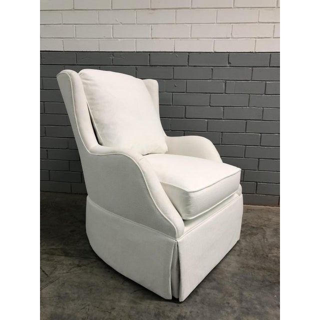 Transitional Highland House Rachel Skirted Swivel Chair For Sale - Image 3 of 5