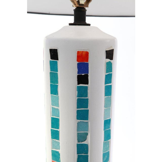Very large-scale plaster and mosaic tile table lamp from Italy, circa early 1960s. This example has inlaid mosaic tiles...
