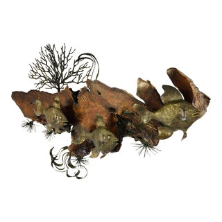 Vintage 1970's Bronze & Burl Wood Underwater Scene Sculpture Mid Century Jere Style For Sale