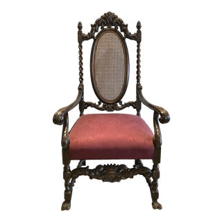 Antique Barley Twist Chair With Ornate Carving For Sale