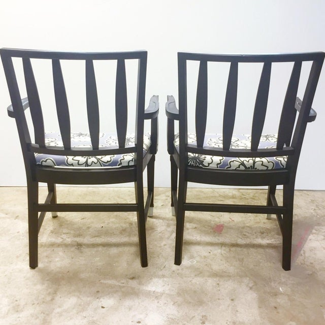 Vintage Black and Lavender Chairs - A Pair - Image 5 of 8