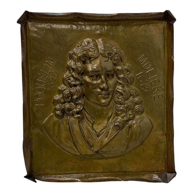 Handmade Brass Plaque of Poet Moliere For Sale