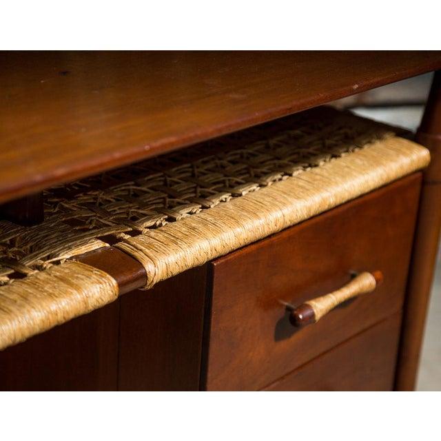 Mid-Century Desk with Wicker Shelf - Image 3 of 11