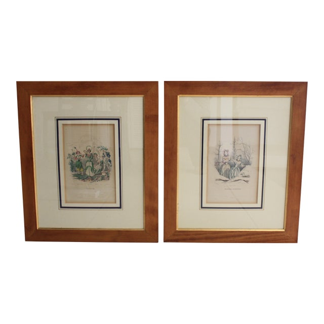 Antique French Engraving - a Pair For Sale