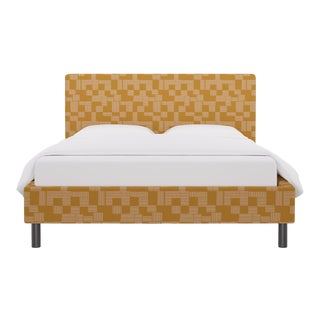 Queen Tailored Platform Bed in Anni For Sale