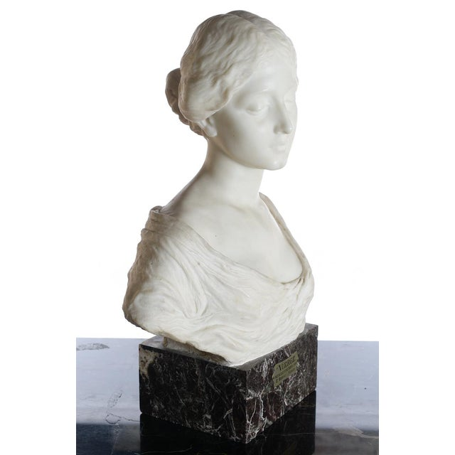 Antique Italian Marble Bust of a Female For Sale - Image 5 of 11