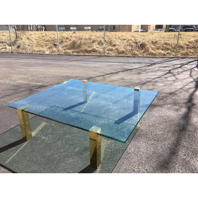 Modern 1970s Vintage Pace Collection Style Brass and Floating Glass Coffee Table For Sale - Image 3 of 6