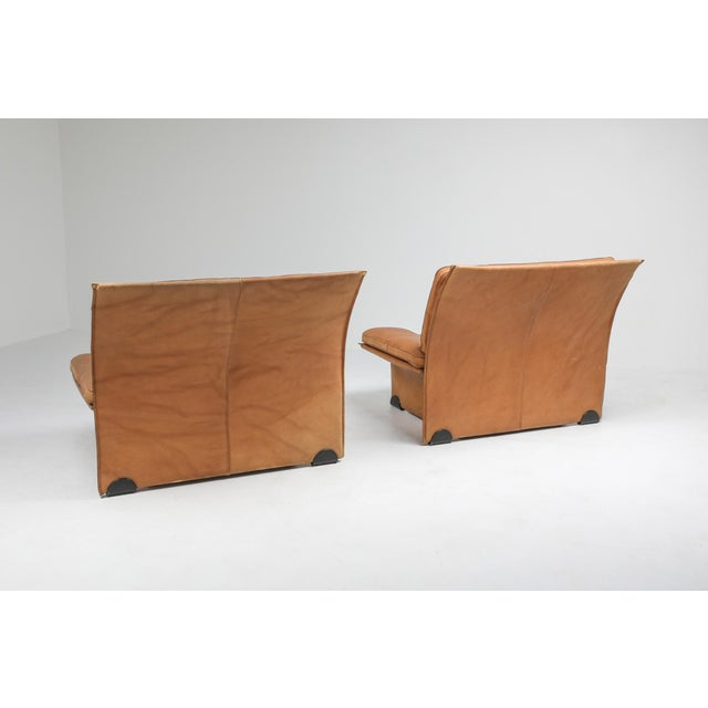 Hollywood Regency Thick Camel Leather Club Chairs by Titiana Ammanati & Giampiero Vitelli for Brunati - 1970s For Sale - Image 3 of 12