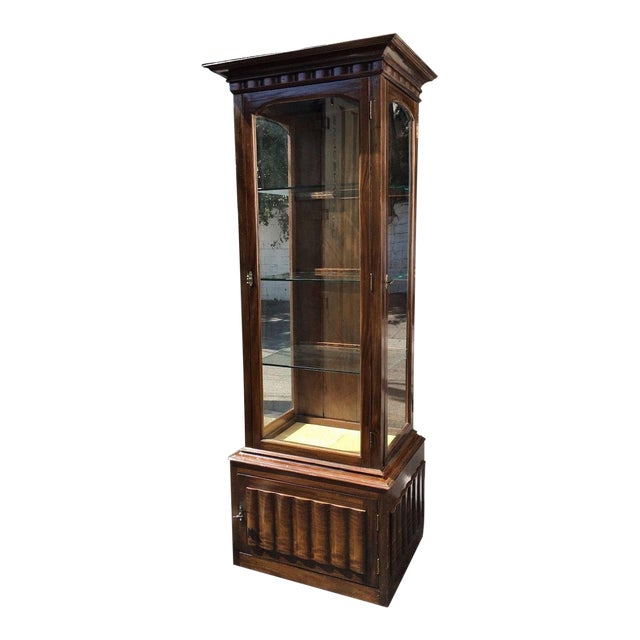 Antique English and Narrow Linen Fold Vitrine Showcase Cabinet For Sale