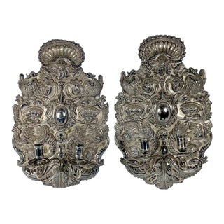 Hand Tooled Silver Sconces, Peru - a Pair For Sale