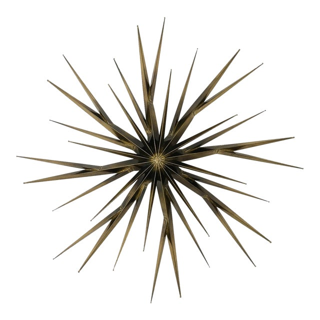 Curtis Jere Patinated Brass Branching Starburst Wall Sculpture, 1981 For Sale