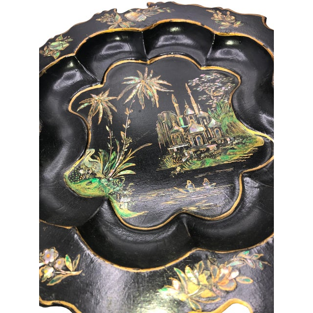 Late 19th Century Antique English Paper Mache With Mother of Pearl Plate For Sale - Image 5 of 7