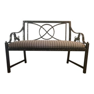 Cast Iron Metal Back Settee For Sale