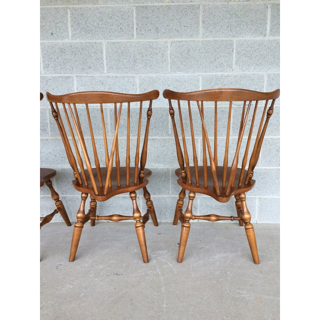 Ethan Allen Windsor Brace Back Nutmeg Side Chairs - Set of 4 For Sale In Philadelphia - Image 6 of 11