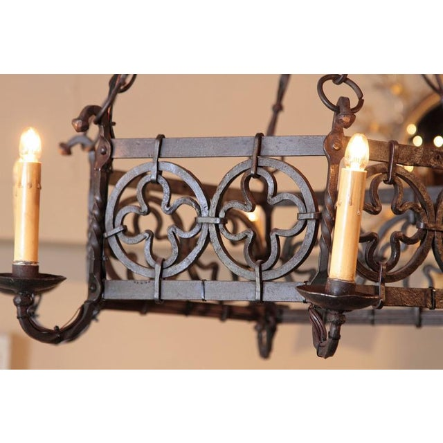 19th Century French Gothic Hexagonal Black Wrought Iron Six-Light Chandelier For Sale In Dallas - Image 6 of 10