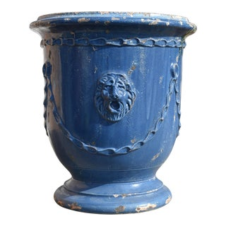 Modern Blue French Anduze Pot For Sale