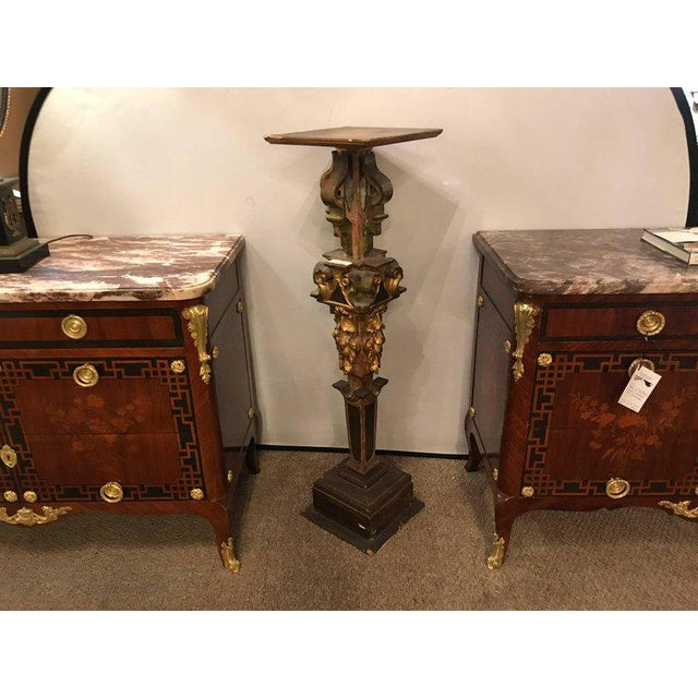 Gold A Continental Italian Gilt Distressed Continental Pedestal For Sale - Image 8 of 11