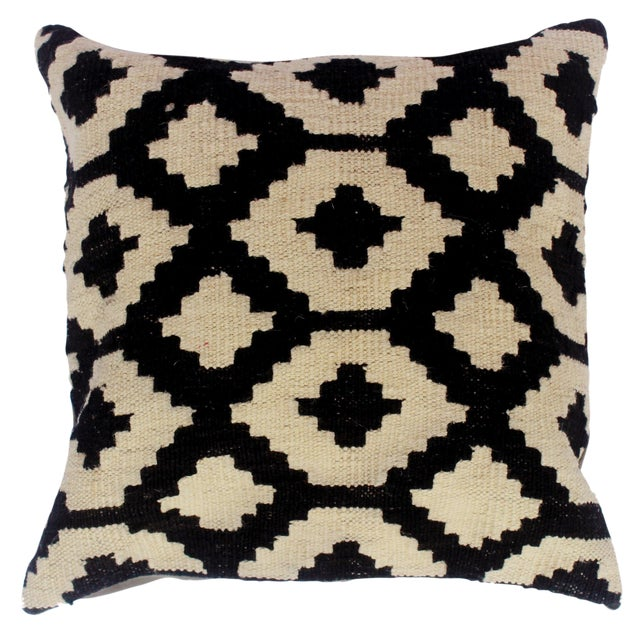 "Desiree Black/Ivory Hand-Woven Kilim Throw Pillow(18""x18"") For Sale"