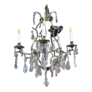 1960s Vintage French Style Brass and Crystal 5 Arm Chandelier For Sale