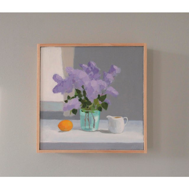 The lilacs are from my garden. A semi-abstract still-life painting. Painted using brushes and a palette knife. This...