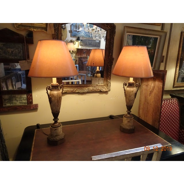 19th Century French Tole and Brass Lamps - a Pair For Sale - Image 11 of 12