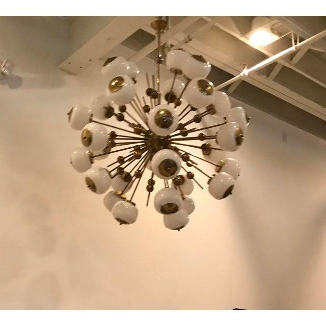 Italian Brass and Glass Sputnik Chandelier For Sale - Image 4 of 11