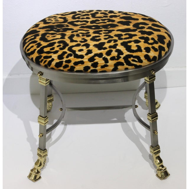 Metal Vintage Maison Jansen Style Oval Stool Polished Steel & Brass Leopard Upholstery For Sale - Image 7 of 13