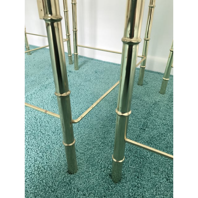 Gold Vintage Glass Top and Metal Nesting Tables- Set of 3 For Sale - Image 8 of 13