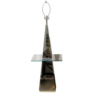 Midcentury Modern Mirrored Floor Lamp With Glass Table For Sale