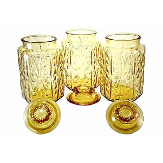 1950s Vintage Amber Glass Jars - Set of 3 Preview