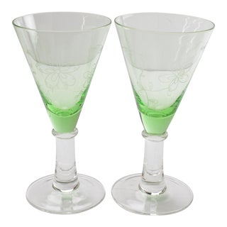 Green Etched Petite Flutes - A Pair