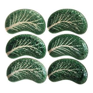 6 Secla Majolica Cabbage Leaf Salad Plates-Portugal For Sale