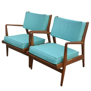 Jens Risom Turquoise Lounge Chairs - A Pair
