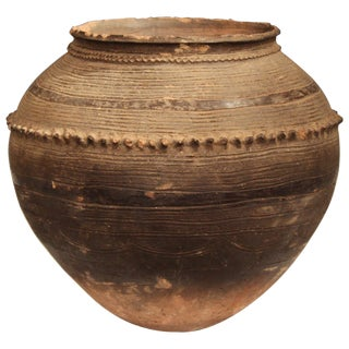 Antique Nigerian African Terracotta Pottery Storage Jar Incised Geometric Vase For Sale