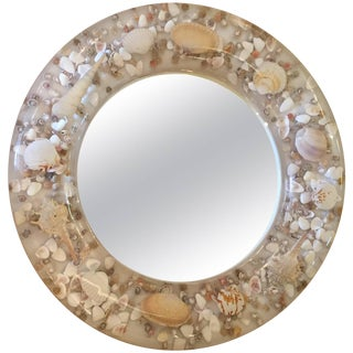 Lucite and Shell Midcentury Modern Round Mirror For Sale