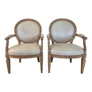 1990s French Louis XV Dennis & Leen Leather Arm Chairs - a Pair