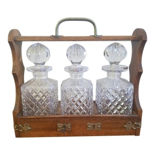 George III Style Canterbury 3 Scotch or Whiskey Decanter Set - 4 Pieces For Sale