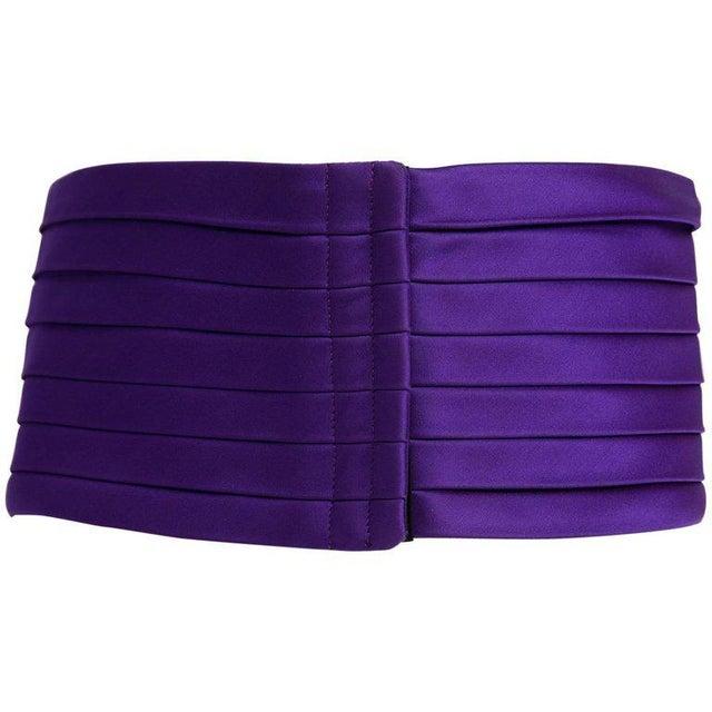 1970s Yves Saint Laurent Purple Pleated Silk Wide Cummerbund Belt For Sale In Miami - Image 6 of 6