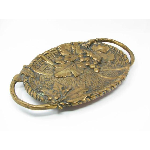 Art Nouveau Antique Jan Van Neste Art Nouveau Bronze Decorative Tray With Grape Leaves For Sale - Image 3 of 13